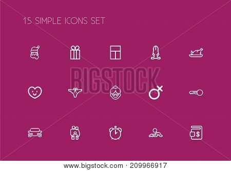 Set Of 15 Editable Family Outline Icons. Includes Symbols Such As Clues, Bunny, Love And More