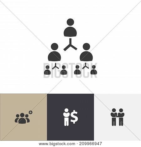 Set Of 4 Editable Cooperation Icons. Includes Symbols Such As Agreement, Finance Director, Corporate And More