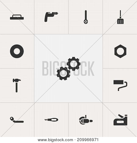 Set Of 13 Editable Equipment Icons. Includes Symbols Such As Digging, Cogwheel, Brush And More