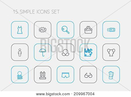Set Of 15 Editable Trade Outline Icons. Includes Symbols Such As Vase, Arrow Up, Search And More