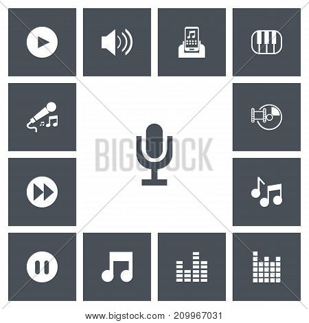 Set Of 13 Editable Music Icons. Includes Symbols Such As Bar Wave, Musical Symbol, Ahead And More