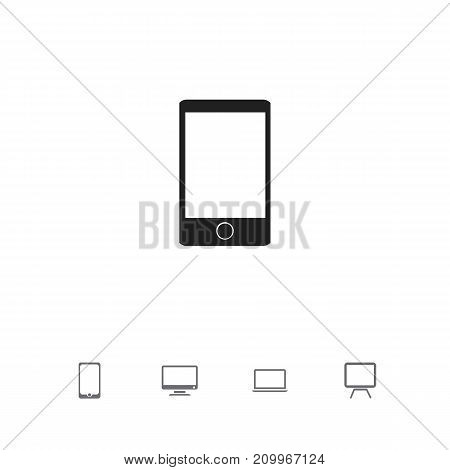 Set Of 5 Editable Devices Icons. Includes Symbols Such As Tv, Screen, Telephone And More