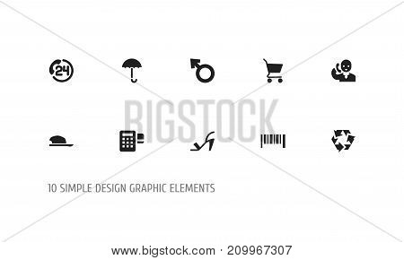 Set Of 10 Editable Trade Icons. Includes Symbols Such As Device, Boy Symbol, Reuse And More