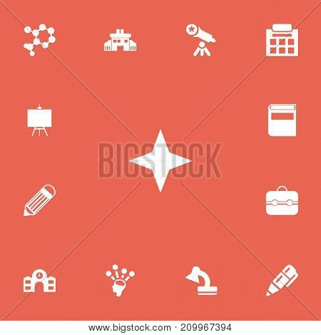 Set Of 13 Editable School Icons. Includes Symbols Such As School, Atom, Lamp And More