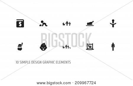 Set Of 10 Editable Relatives Icons. Includes Symbols Such As Fried Chicken , Kin, Grandpa