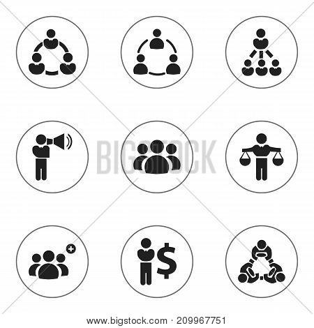 Set Of 9 Editable Cooperation Icons. Includes Symbols Such As Partnership, Group, Cooperation And More