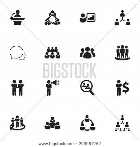 Set Of 16 Editable Community Icons. Includes Symbols Such As Command, Debate, Commander
