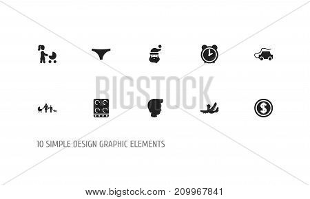 Set Of 10 Editable Folks Icons. Includes Symbols Such As Perambulator, Kin, Cooker And More