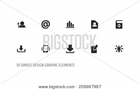 Set Of 10 Editable Internet Icons. Includes Symbols Such As Document, Skill, Mail Symbol And More