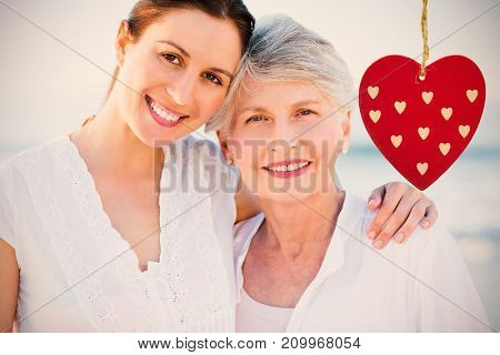 Cute heart decoration against smiling daughter with her mother