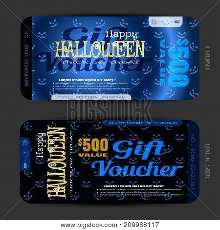 Vector set of gift voucher to Halloween with text on the gradient dark blue background with pattern of smiles.