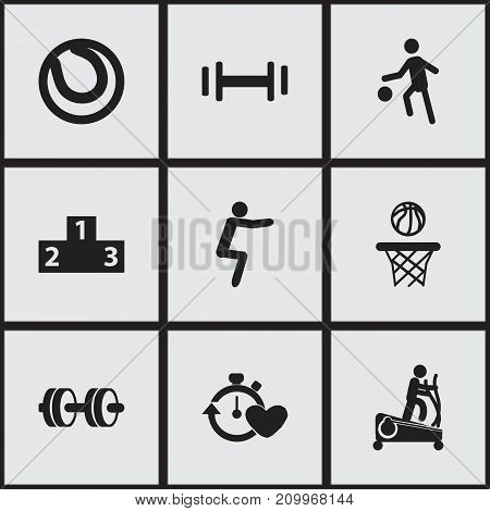 Set Of 9 Editable Lifestyle Icons. Includes Symbols Such As Sportsman, Health Time, Basketball And More