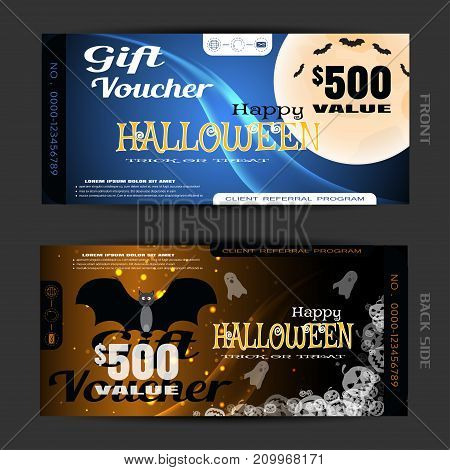 Vector blank of gift voucher to Halloween with vampire full moon flock of batswave transparent pumpkins text ghosts sparkles on the gradient dark blue and brown background.