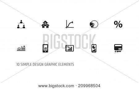 Set Of 10 Editable Logical Icons. Includes Symbols Such As Pie Graphic, Phone Statistics, Percent And More