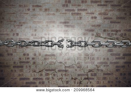3d illustration of damaged silver chain  against a stone wall