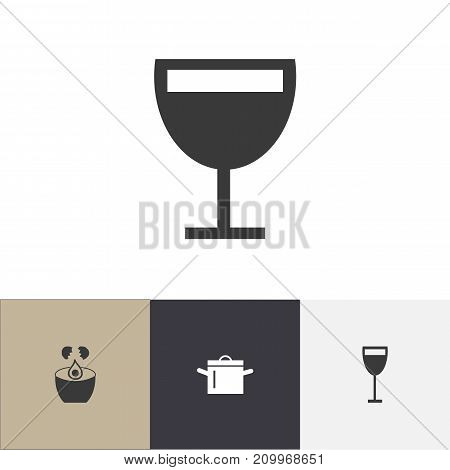 Set Of 4 Editable Cook Icons. Includes Symbols Such As Break Eggs, Pan, Goblet And More