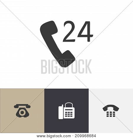 Set Of 4 Editable Device Icons. Includes Symbols Such As Call, Telecommunication, 24 Hour Servicing And More