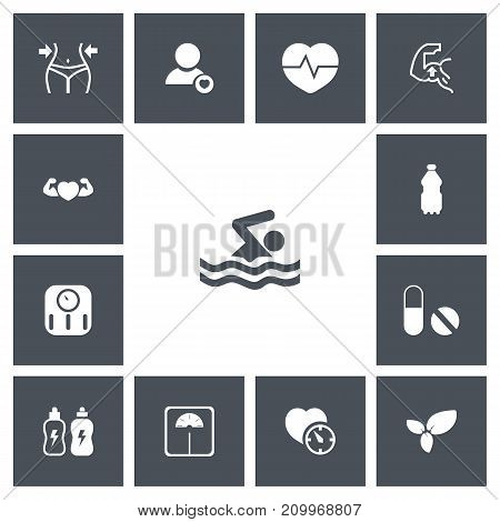Set Of 13 Editable Lifestyle Icons. Includes Symbols Such As Swimming, Slimming, Pill And More