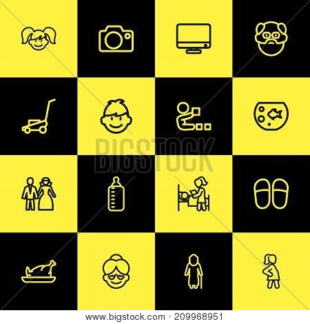Set Of 16 Editable Folks Outline Icons. Includes Symbols Such As Sleeping, Pregnancy, Milk And More