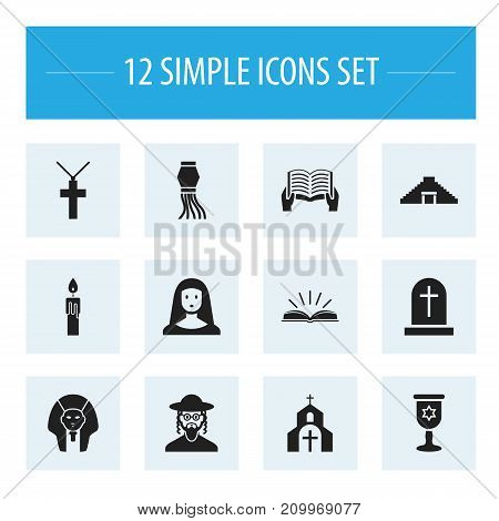 Set Of 12 Editable Dyne Icons. Includes Symbols Such As Christian Cross, Fire Wax, Pyramid And More