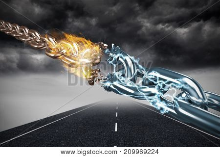 3d image of damaged silver chain  against stormy landscape background with street