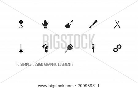 Set Of 10 Editable Instrument Icons. Includes Symbols Such As Garden Scissors, Excavate, Balance And More