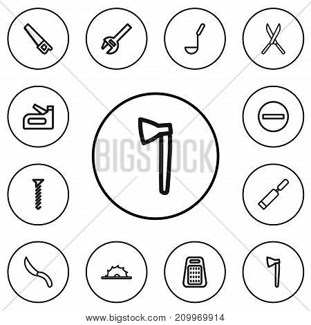 Set Of 12 Editable Tools Outline Icons. Includes Symbols Such As Circle Blade, Putty Knife, Garden Scissors And More