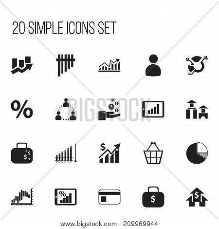 Set Of 20 Editable Logical Icons. Includes Symbols Such As User, Decrease, Monitoring And More