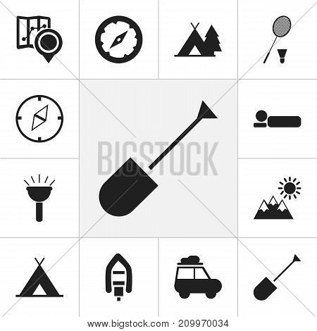 Set Of 12 Editable Travel Icons. Includes Symbols Such As Spade, Trailer, Racket And More