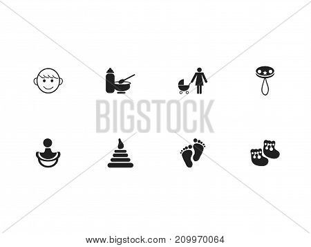 Set Of 8 Editable Baby Icons. Includes Symbols Such As Nutrition, Nipple, Shoes For Babies And More