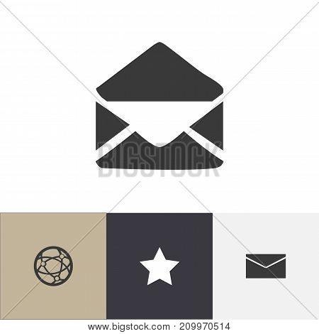 Set Of 4 Editable Web Icons. Includes Symbols Such As Bookmark, Letter, Network And More