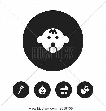 Set Of 5 Editable Infant Icons. Includes Symbols Such As Maraca, Shoes For Babies, Pacifier Sucking And More