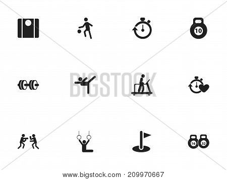 Set Of 12 Editable Exercise Icons. Includes Symbols Such As Sportsman, Flag, Acrobat And More