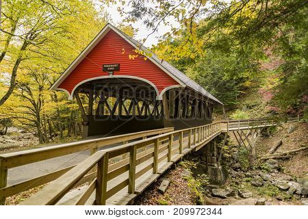 Covered bridge over Pemigewasset River at the Flume Gorge in Fanconia State Park New Hampshire