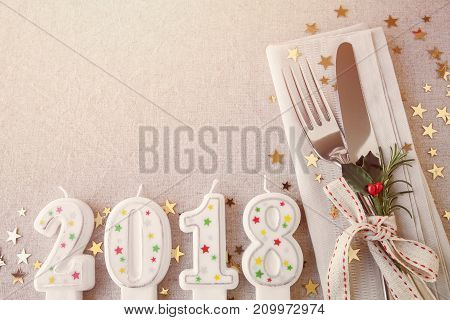 New Year eve 2018 Christmas food lunch dinner table place setting festive background