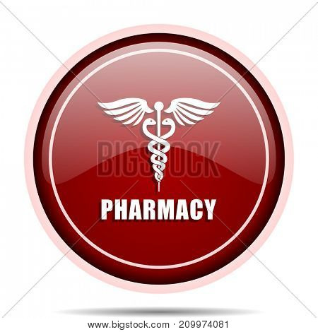 Pharmacy red glossy round web icon. Circle isolated internet button for webdesign and smartphone applications.
