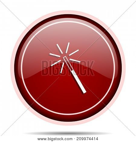 Magic wand red glossy round web icon. Circle isolated internet button for webdesign and smartphone applications.