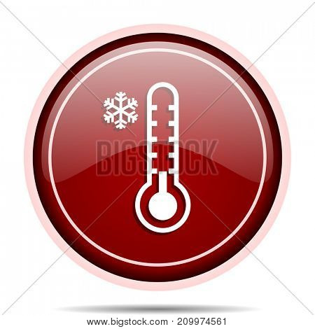 Cold thermometer red glossy round web icon. Circle isolated internet button for webdesign and smartphone applications.