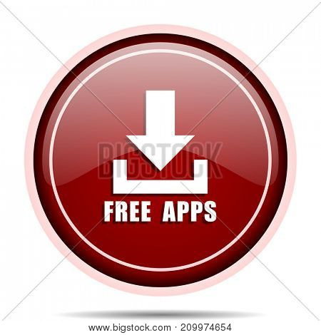 Free apps red glossy round web icon. Circle isolated internet button for webdesign and smartphone applications.