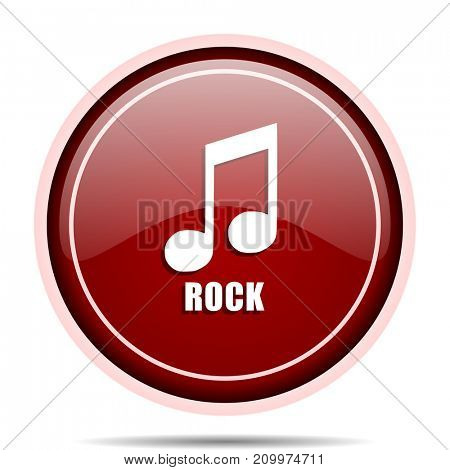 Rock music red glossy round web icon. Circle isolated internet button for webdesign and smartphone applications.