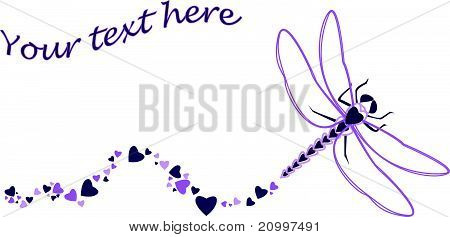 Dragonfly Made Of Heart Shapes.eps