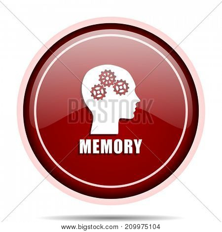 Memory red glossy round web icon. Circle isolated internet button for webdesign and smartphone applications.