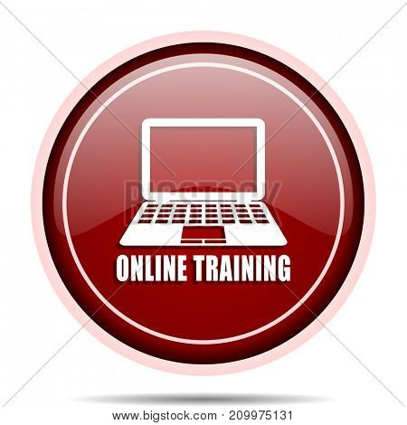 Online training red glossy round web icon. Circle isolated internet button for webdesign and smartphone applications.