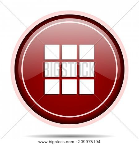 Thumbnails grid red glossy round web icon. Circle isolated internet button for webdesign and smartphone applications.
