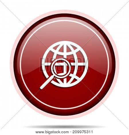 Search red glossy round web icon. Circle isolated internet button for webdesign and smartphone applications.