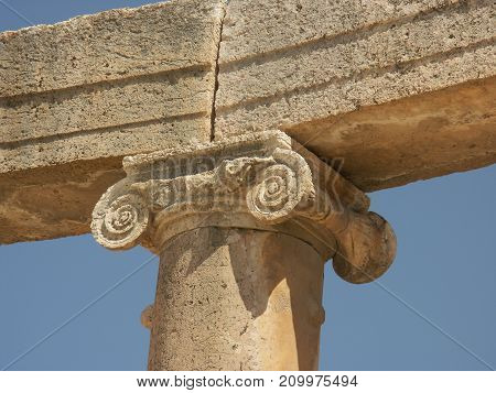 Roman clomn closeup in the Ruins of the old city of Jerash in Jordan