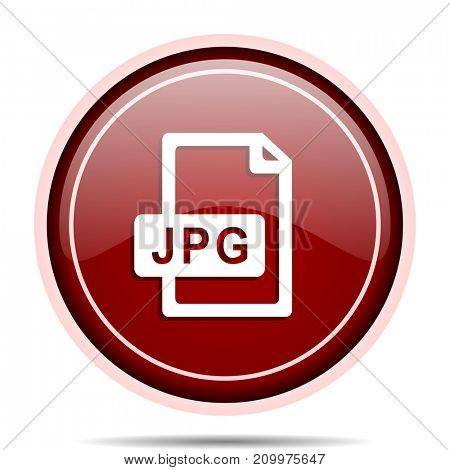 Jpg file red glossy round web icon. Circle isolated internet button for webdesign and smartphone applications.