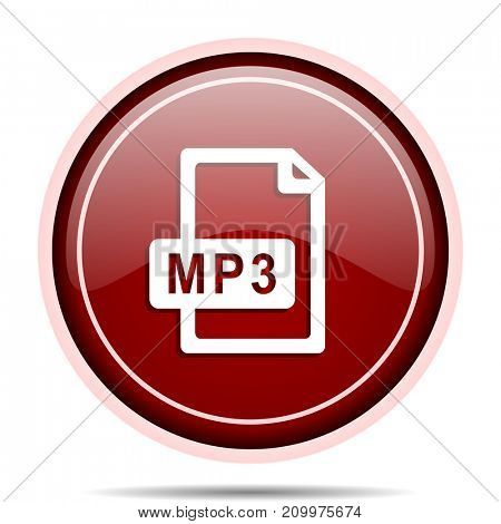 Mp3 file red glossy round web icon. Circle isolated internet button for webdesign and smartphone applications.