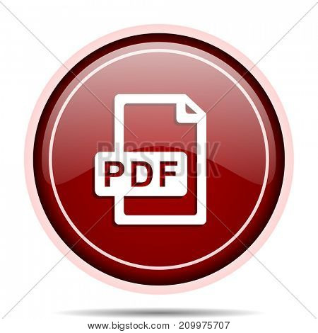 Pdf file red glossy round web icon. Circle isolated internet button for webdesign and smartphone applications.