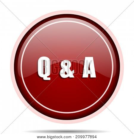 Question answer red glossy round web icon. Circle isolated internet button for webdesign and smartphone applications.